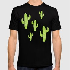 Linocut Cacti Minty Pinky Black Mens Fitted Tee SMALL