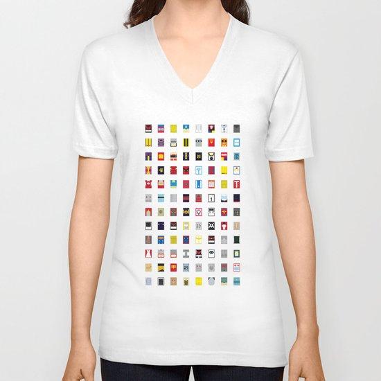 Minimalism robots (Good natured / Defenders) V-neck T-shirt