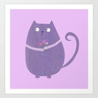 Purple Cat Art Print