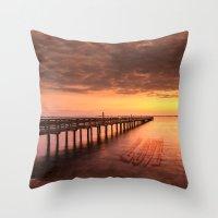 Sunset/Sundusk over harvor. Throw Pillow