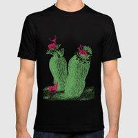 Deer cactus Mens Fitted Tee Black SMALL