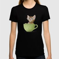 Mr. Micio Miao - Kitten … Womens Fitted Tee Black SMALL