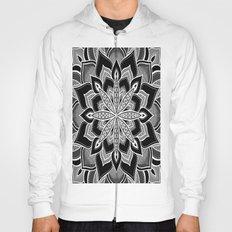Mandala: Black Gray White Flower Hoody