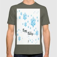 Snow Falling At Christma… Mens Fitted Tee Lieutenant SMALL
