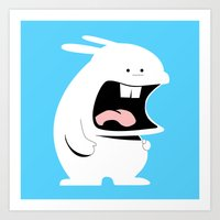 Screaming Rabbit Art Print