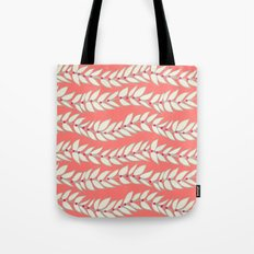 Leaf Dot Stripe Coral Tote Bag