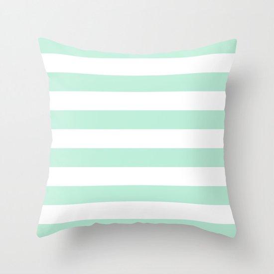 Stripe Horizontal Mint Green Throw Pillow