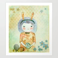 bunny Art Prints featuring Bunny by munieca