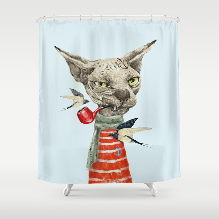 Sphynx Cat Shower Curtain By Dogooder