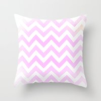 Pale Pink Textured Chevr… Throw Pillow