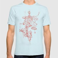Abstract Lines, Linear Pyramid Space Mens Fitted Tee Light Blue SMALL