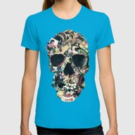 Vintage Skull Womens Fitted Tee Teal SMALL