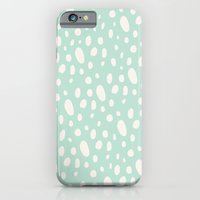 Bohemian Pebbles - light blue and cream dot pattern iPhone 6 Slim Case
