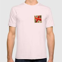 Sticker With UK Flag Mens Fitted Tee Light Pink SMALL