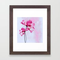 two pinks flowers on watercolors Framed Art Print