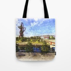West Ham Olympic Stadium And The Arcelormittal Orbit Art Tote Bag