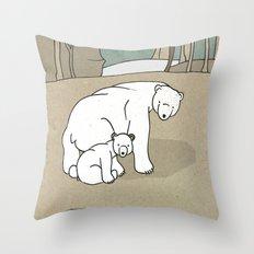Polar Bear Mother and Son Throw Pillow