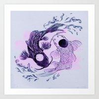 YingYang Koi Fish Art Print