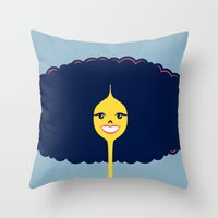 Throw Pillow featuring Good Hair Days: Big by Mouki K. Butt