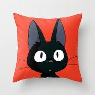 Black Cat Jiji - Happy H… Throw Pillow