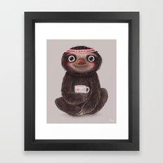 Sloth I♥lazy Framed Art Print