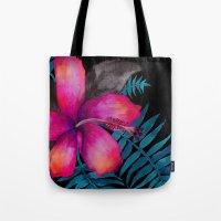 Pink Hibiscus Flower - BLACK Tote Bag