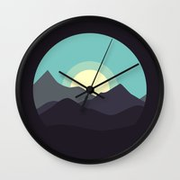 Minimal Mountain Night Wall Clock