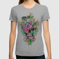 Tropical Skull Womens Fitted Tee Athletic Grey SMALL