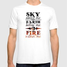 Sky Earth Fire White Mens Fitted Tee SMALL