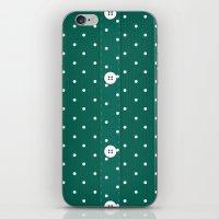 Green Polka Dot Button Up iPhone & iPod Skin