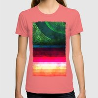 Abstract Womens Fitted Tee Pomegranate SMALL