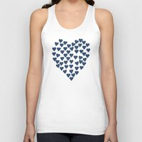 Hearts Heart Navy Unisex Tank Top