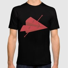 Paper plane SMALL Black Mens Fitted Tee