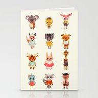 Animal Fashion Stationery Cards