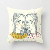 Last Sunset Twins Throw Pillow