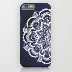 White Feather Mandala on Navy iPhone 6 Slim Case