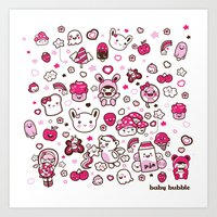 Kawaii Friends Art Print