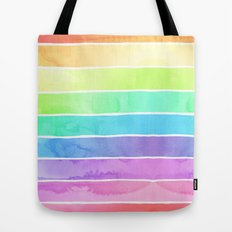 Watercolor Rainbow Stripes in Ombre Summer Pastels Tote Bag