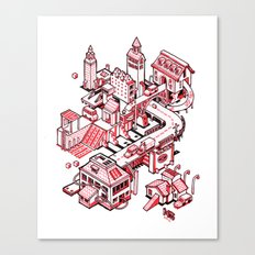 Small City - Red Canvas Print