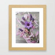 Floral Still life, grey, pink, lavendar Framed Art Print