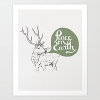 Christmas Carol Elk Art Print
