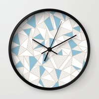 Ab Nude Lines With Blue … Wall Clock