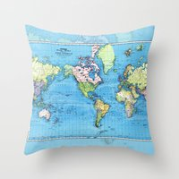 Mercator Map of Ocean Currents Throw Pillow