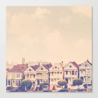 Darling do come see us! San Francisco Painted Ladies photograph Canvas Print