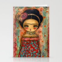 Frida In A Red And Teal Dress Stationery Cards