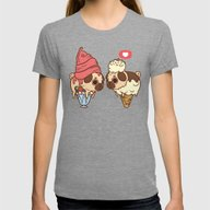 Puglie Froyo And Ice-Cre… Womens Fitted Tee Tri-Grey SMALL