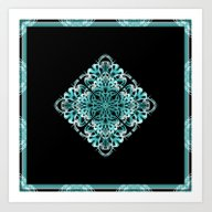 Pattern Turquoise And Bl… Art Print
