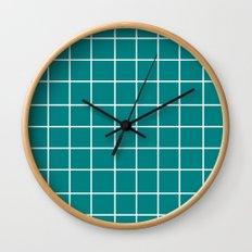 Grid (White/Teal) Wall Clock