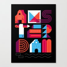 Postcards from Amsterdam / Typography Canvas Print