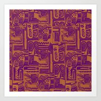 tribal pattern in purple and yellow Art Print